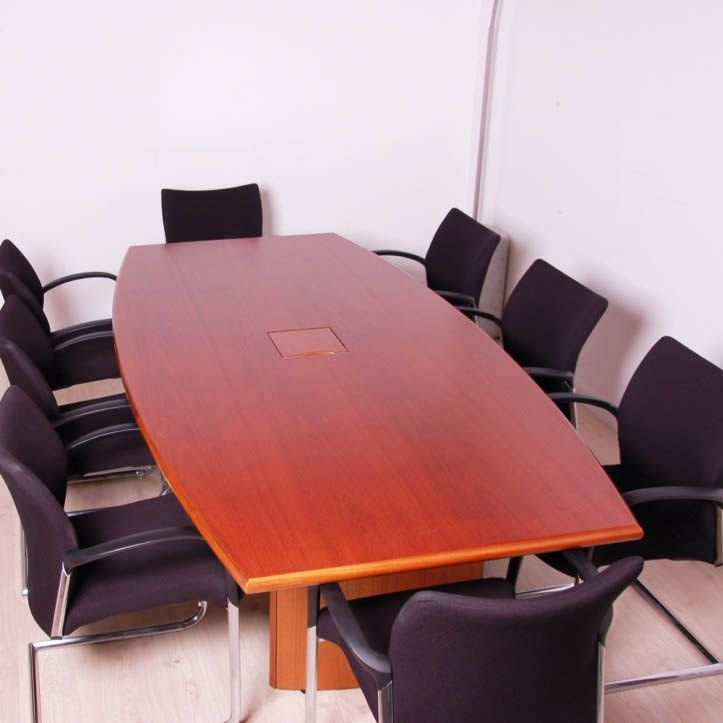 Boardroom table in walnut veneer finish with
