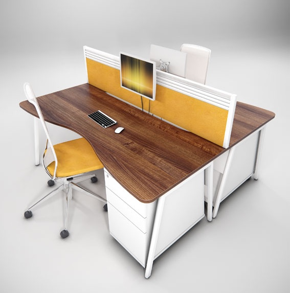 Contemporary A Frame Double Wave Desk modern desk curved