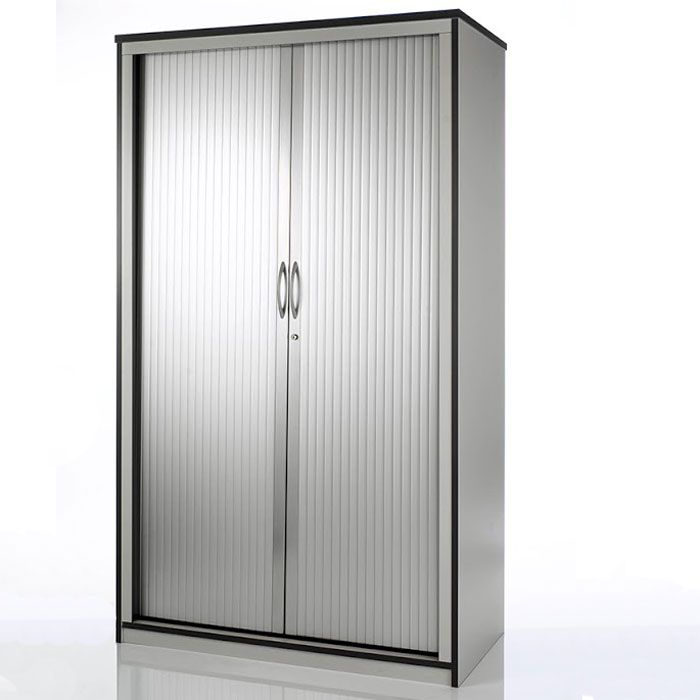Exhibition Roller Stand : Tambour storage unit with roller doors silver