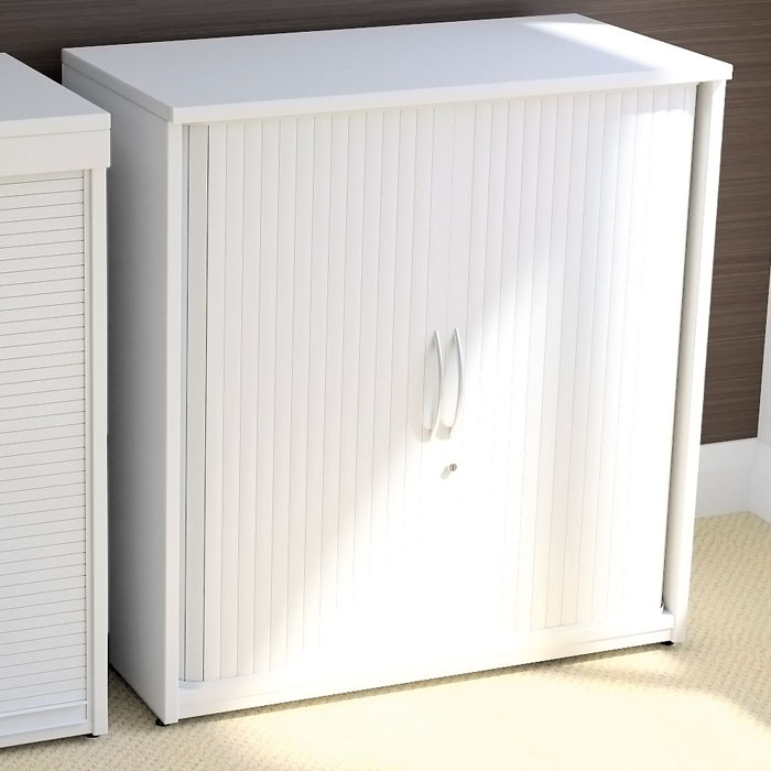 Tambour Storage Units With Side Sliding Doors White Office Storage Cupboard With White Sliding Doors