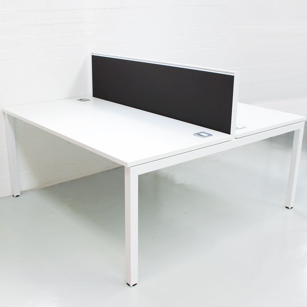 White Bench Desk With Black Screens White Bench Desk
