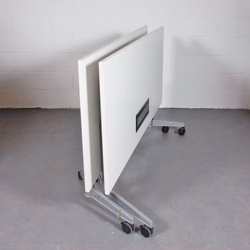 White Flip Top Table With Built In Power Module Oval