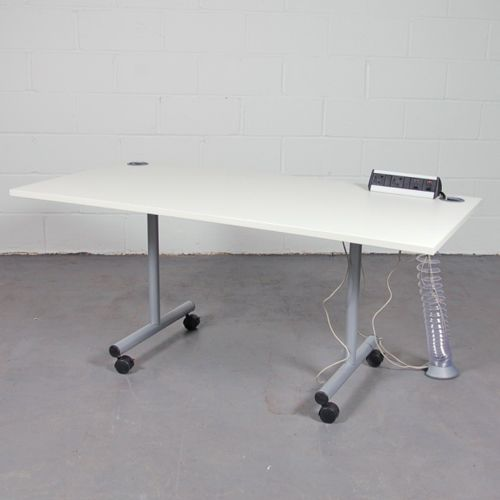 White Flip Top Table With Desk Mounted Power Modules