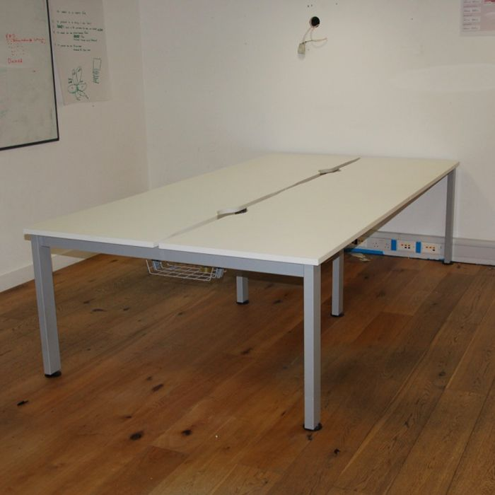 White Senator Freeway Bench Desk With Cable Management