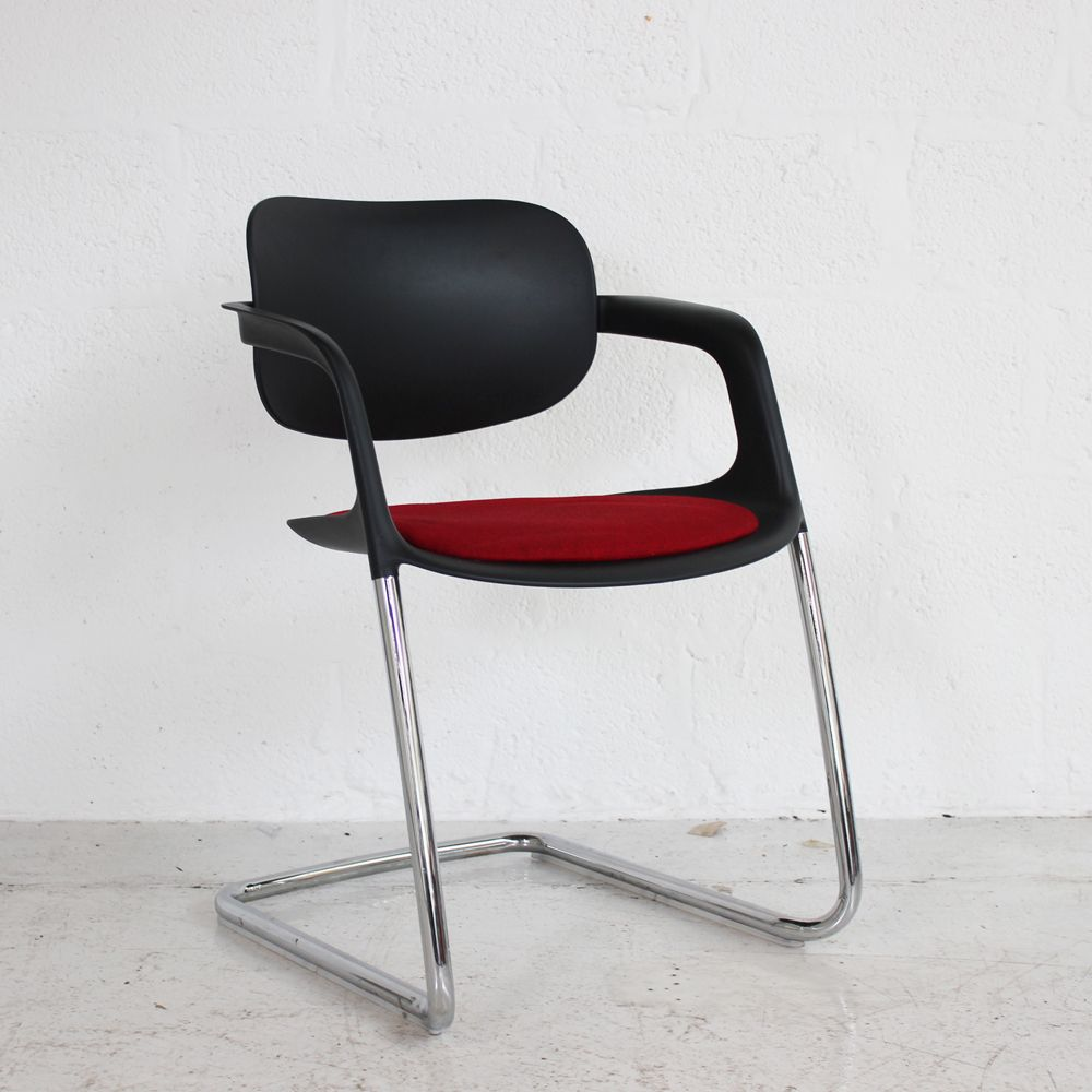 Allermuir A784 Soul Chair - Black Frame w/ White Back | plastic chair | stacking chair