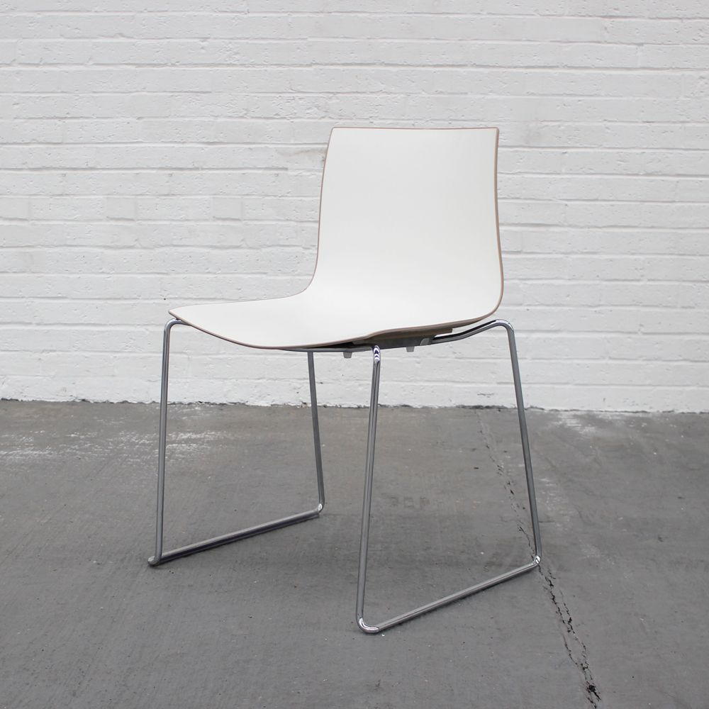 Arper Catina Chairs with coffee back  | Plastic Stacking chairs | bistro chairs on chrome base