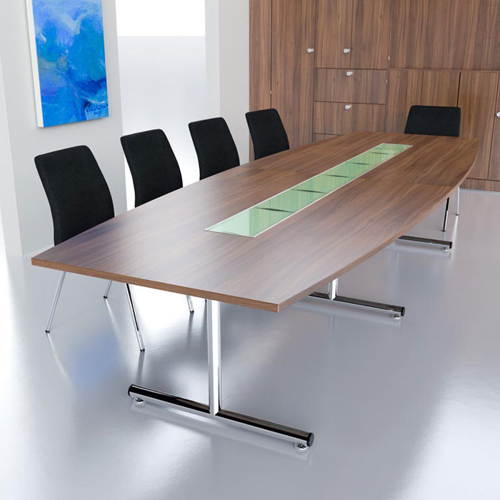 Barrel Shaped Boardroom Table On Chrome T Base In MFC Finish With - T shaped conference table