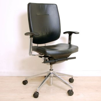Black Leather Operator Chair With Arms | Leather Computer Chair | Black  Task Chair