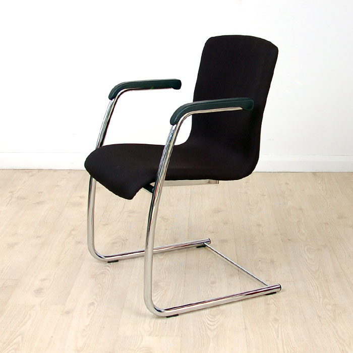 Black Meeting Chairs on Chrome Cantilever Frame | meeting chair on chrome frame | black fabric seat