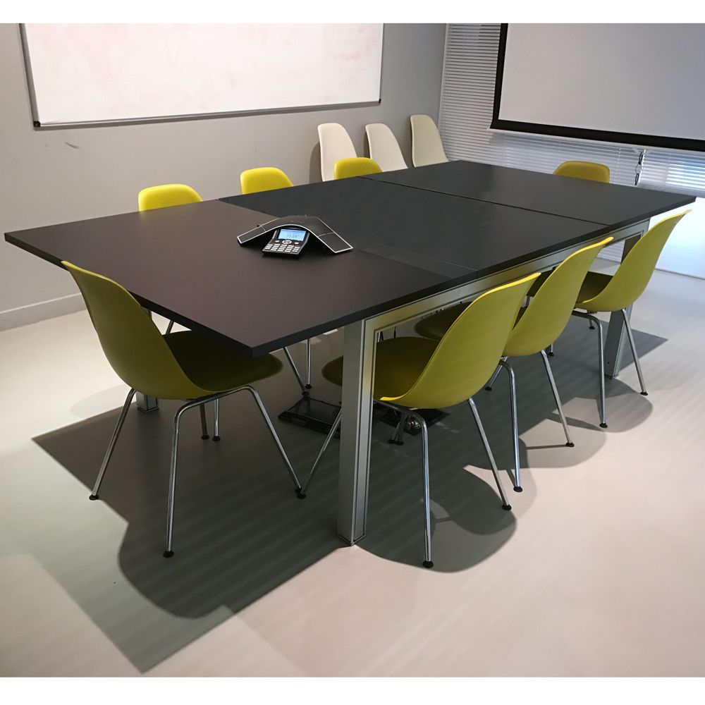 Black Meeting Table On Silver Base Modern Meeting Table