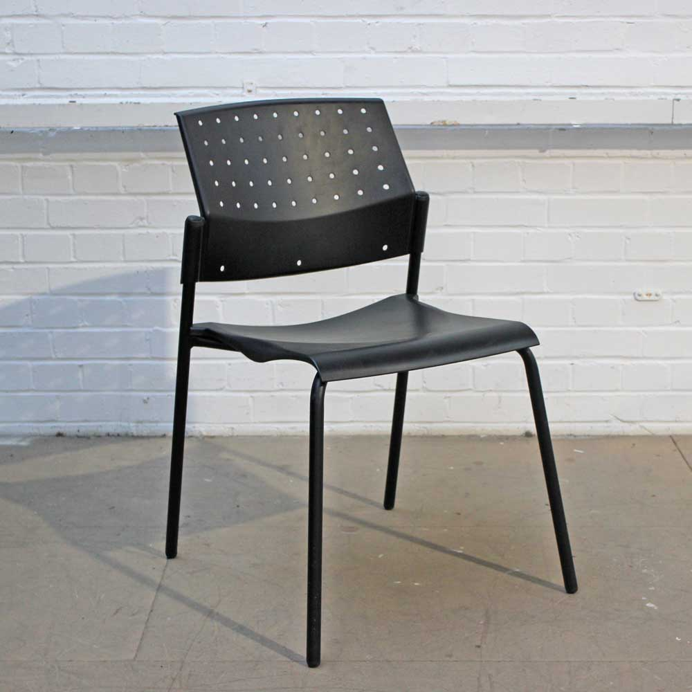 Black Plastic Stacking Chair | Black Meeting Chair | Stacker Chair