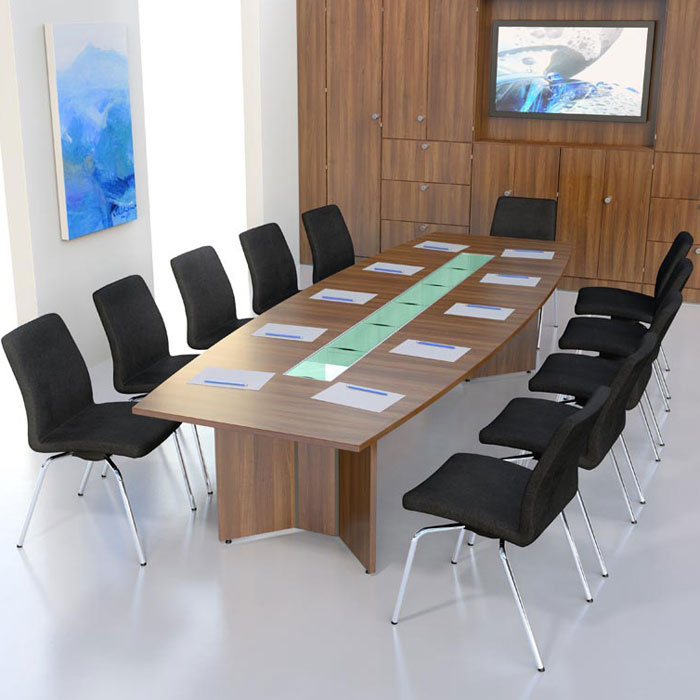 Boat Shaped Boardroom Table With Veneer Finish Executive