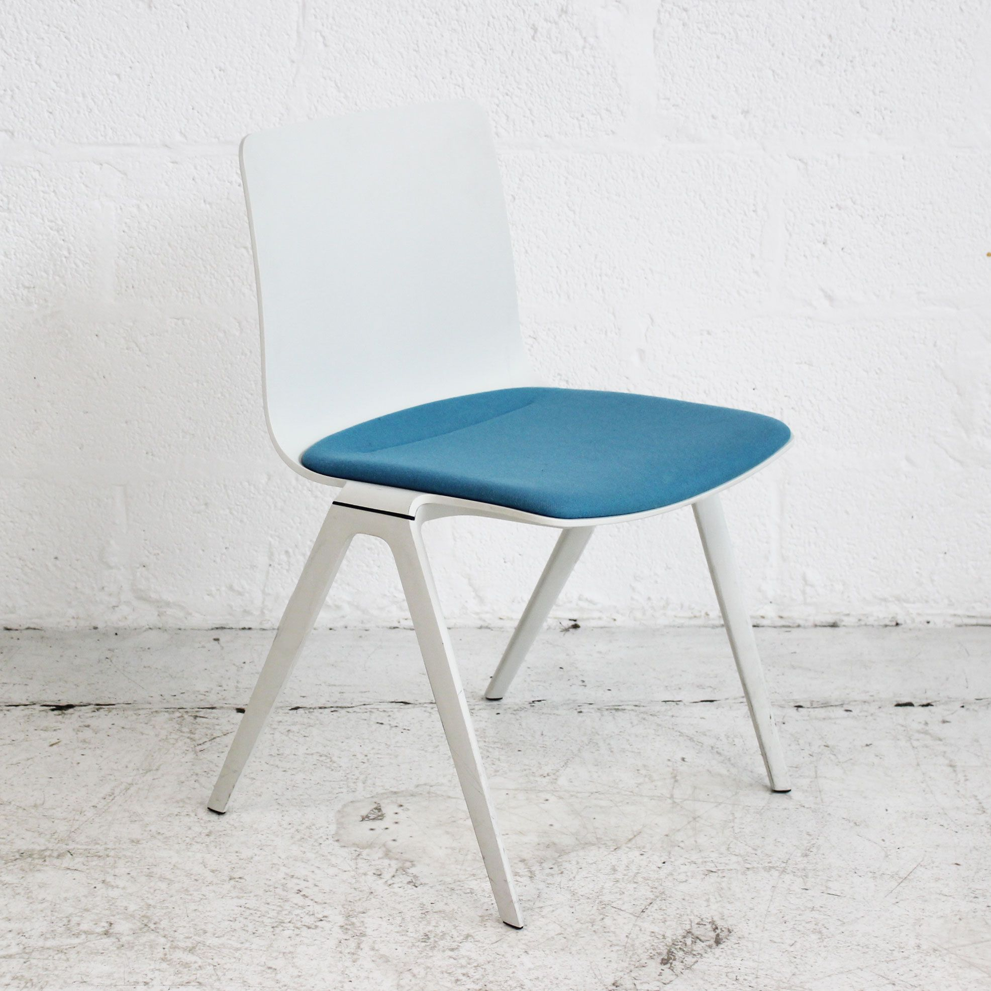 Brunner A Chair - White - Blue Seat | White Stacking Chair | White ...