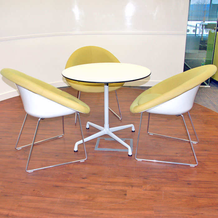 Connection Gloss Reception Seating designed by David Fox | reception chair with chrome legs | white tub reception seat