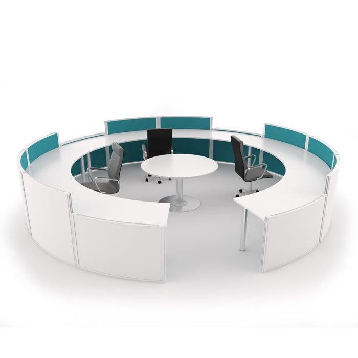 Curved Free Standing Screen Reception Desk Round