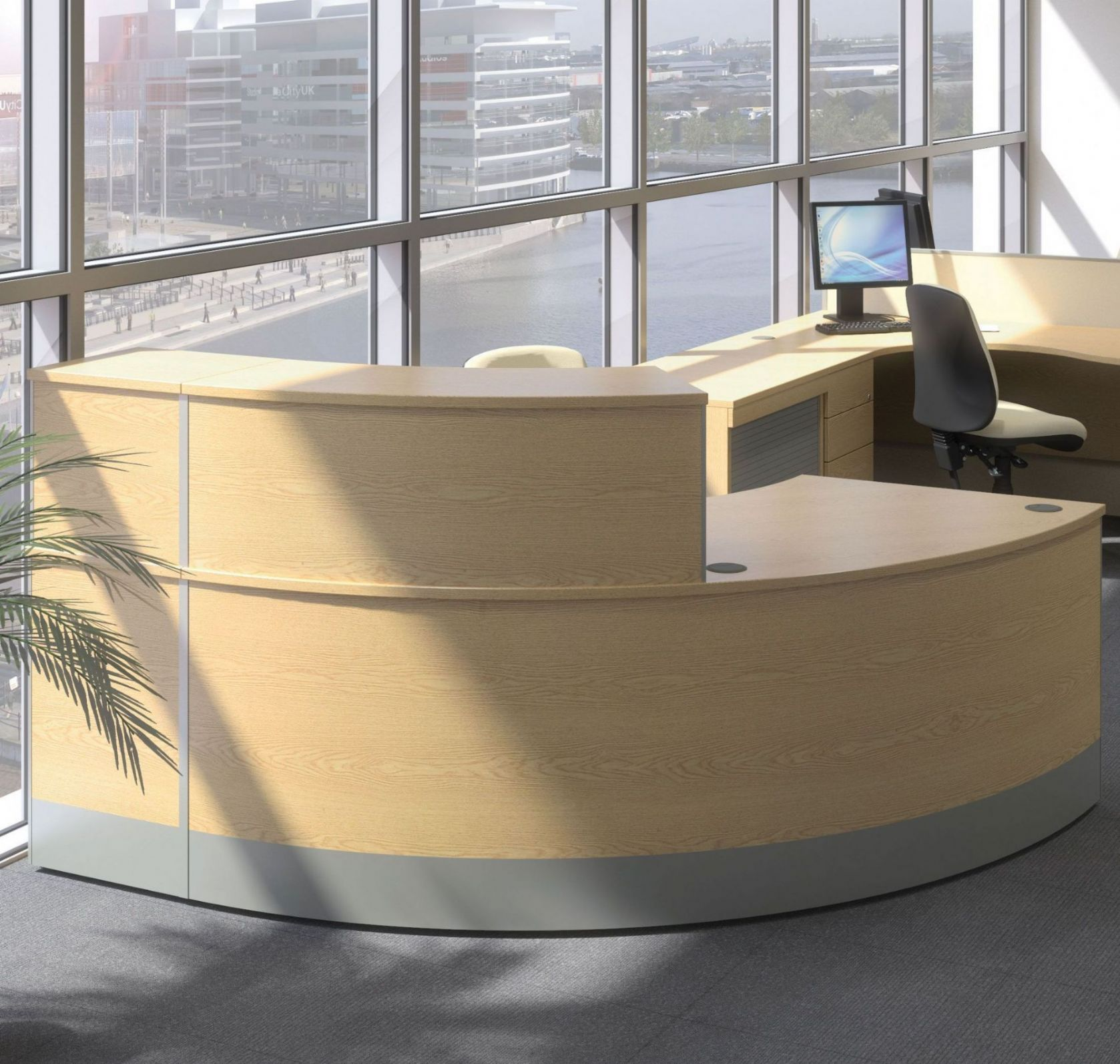 Curved Reception Desk Reception Desk With Wooden Finish