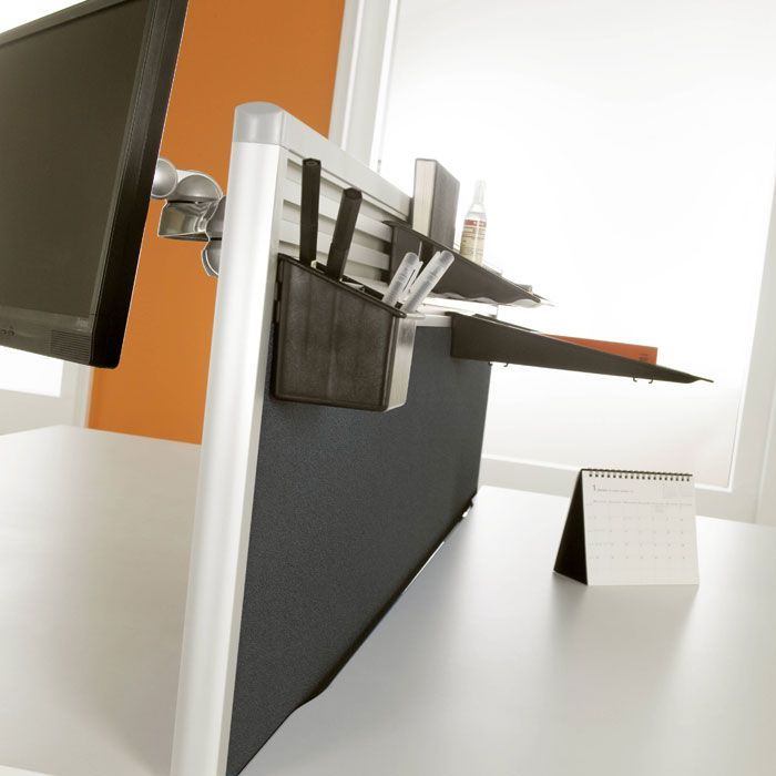 Desk Mounted Screens With Option For Tool Rail Desk