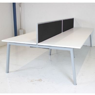Elite Linnea Bench Desk - White with Silver Frame (Screens Included)