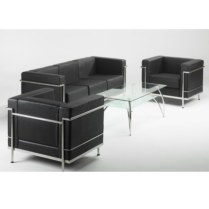 Faux Leather Reception Sofa in Black or White