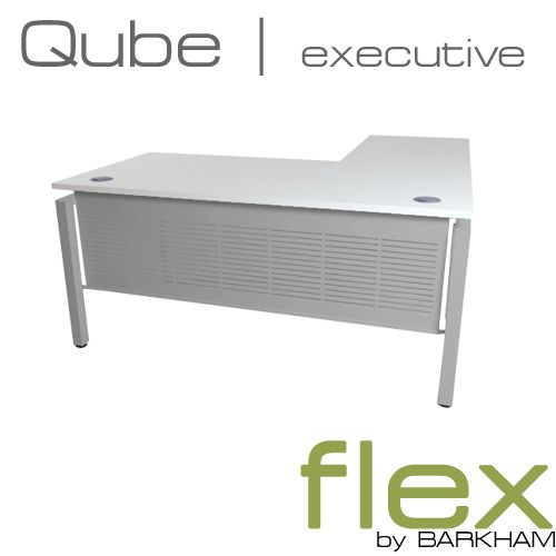 Flex Qube | New Free Standing Desk with Return (Silver)