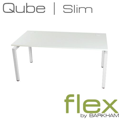 Flex Qube | New Slim White Free Standing Desk