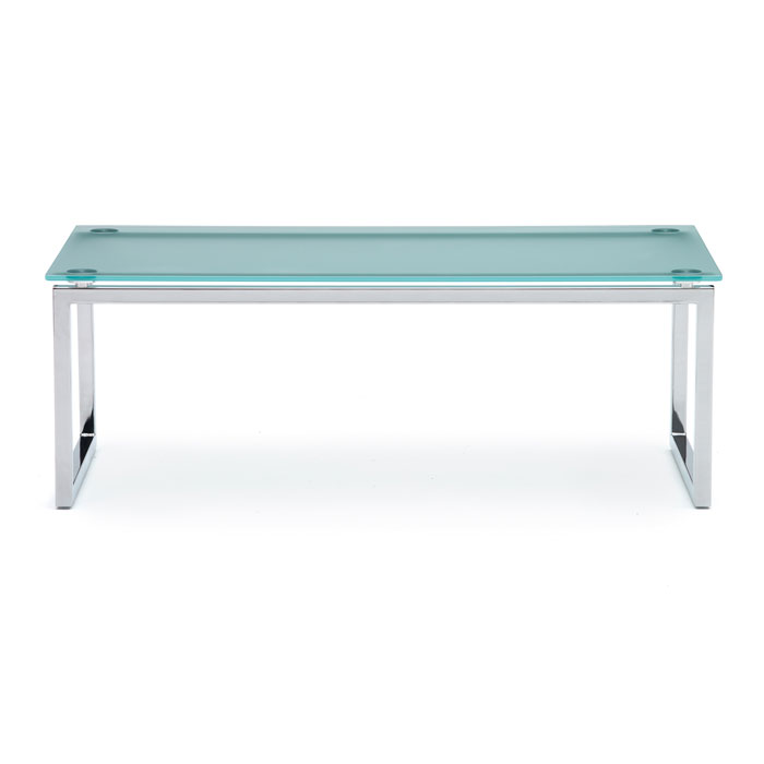 Chrome X Frame Coffee Table: Frosted Glass Reception Table With Chrome Frame