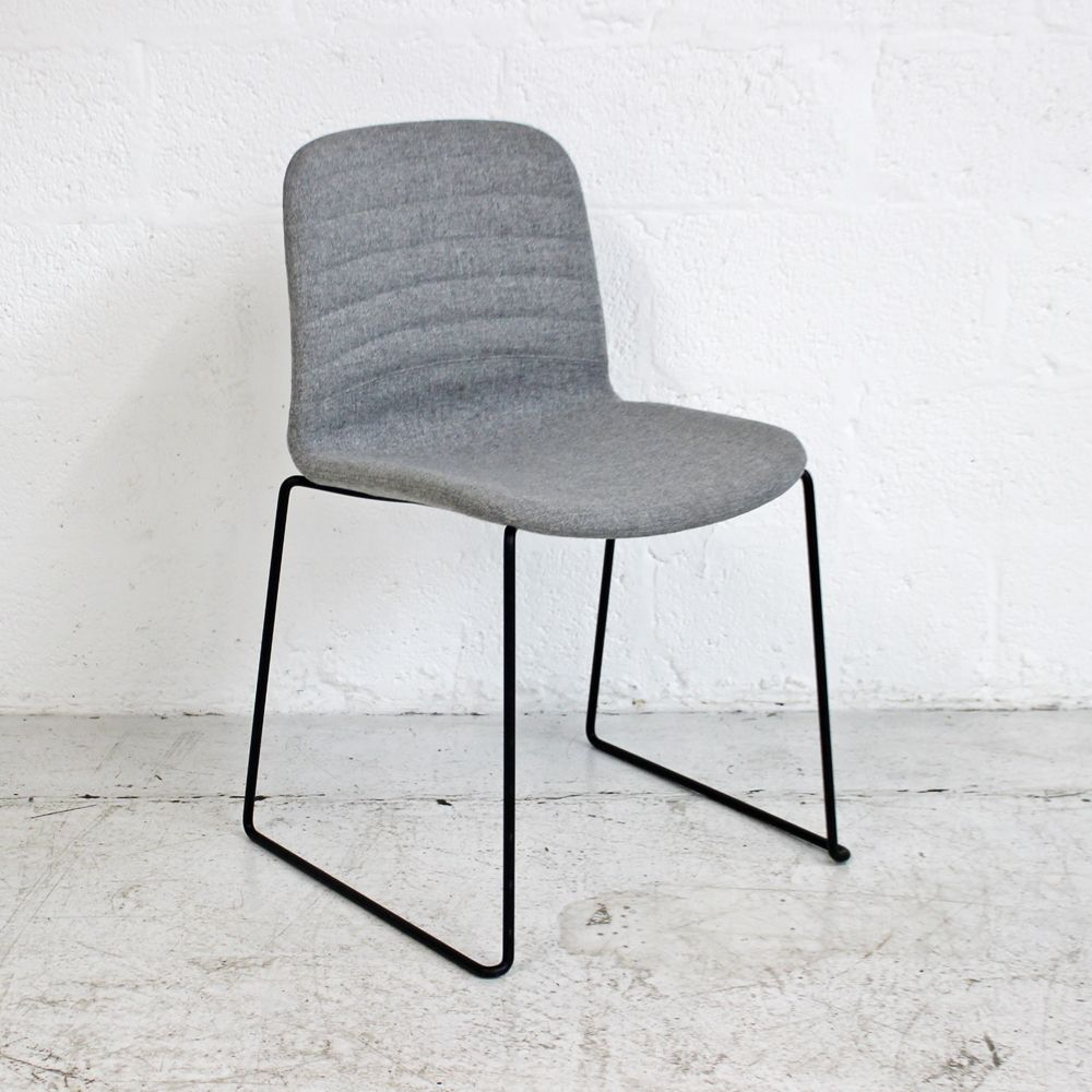 Grey stacking chair with black frame | Matte Black Chair | Wire Frame Chair