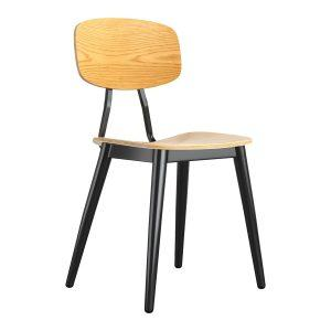 Juna Side Chair - Ply Oak & Black Steel