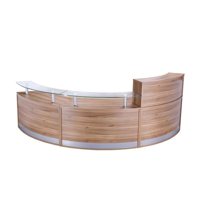 Modular Curved Reception Desk With Glass Sign In