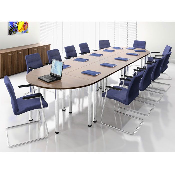 Modular Meeting Or Training Tables On Pole Legs Oval