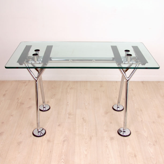 Original Sir Norman Foster Nomos Rectangular Glass Desk | Glass Table On  Chrome Frame | Designer Table With Glass Top