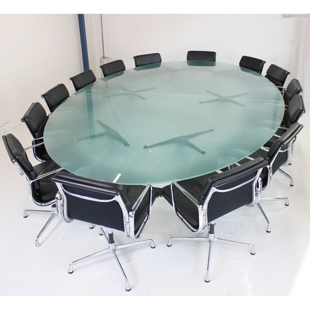 Original Vitra Eames Glass Boardroom Table with Segmented Base | Designer meeting table | Glass conference table