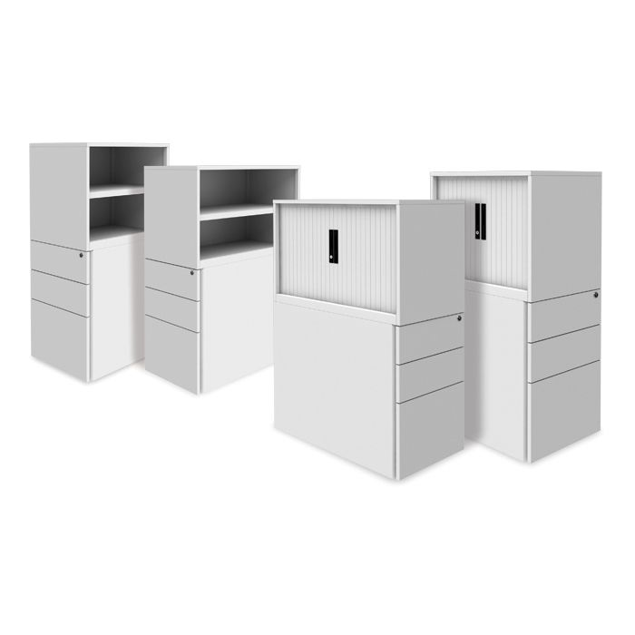 Pedestal with Bookcase or Tambour above (in various colours) | office storage | office end pedestal with storage above