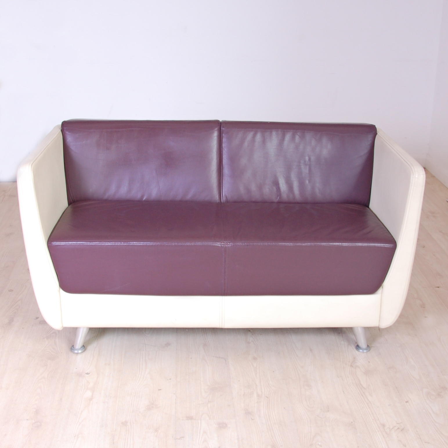 Reception Two Seater Sofa cream and maroon sofa