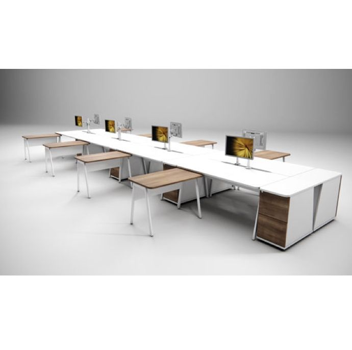 Rectangular Desk with Option for Add on Return | long desks with individual return | office desk for multiple users
