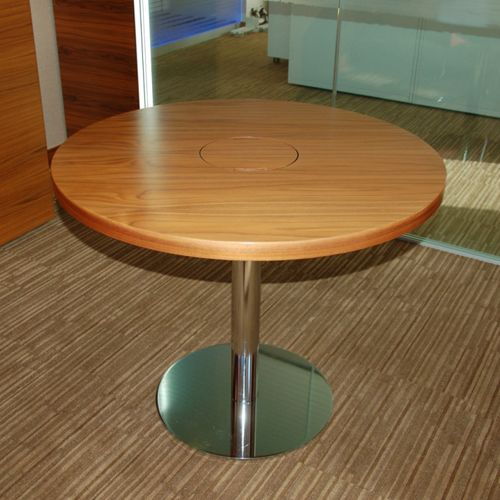 Round Walnut Veneer Table 900mm Diameter | Circular Table With Chrome Base  | High End Round Table