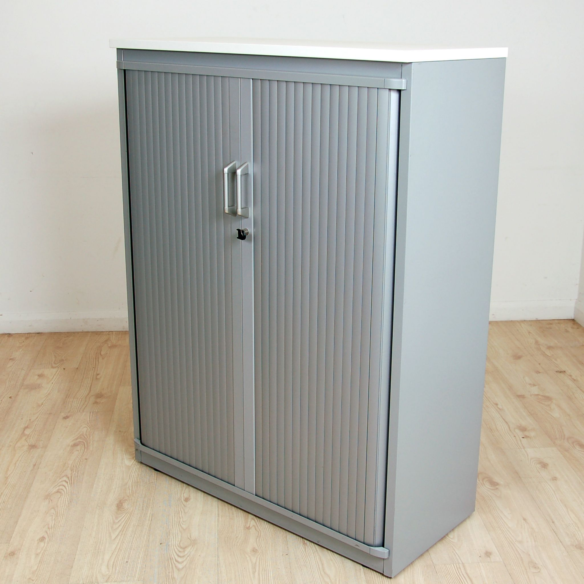 Silver Steelcase Tambour Unit 1330mm High