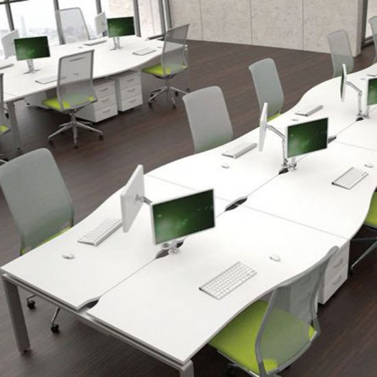 Single Wave Bench Desk With Floating Top Modern Office Desking Adorable Modern Office Furniture Systems
