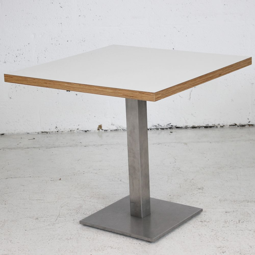 Square table with silver base | square meeting table | white table