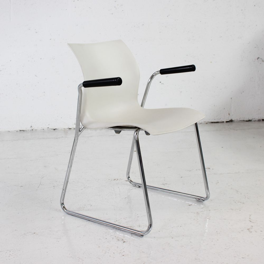 Stacking side chair with sled base | white chair | stacking chair in white
