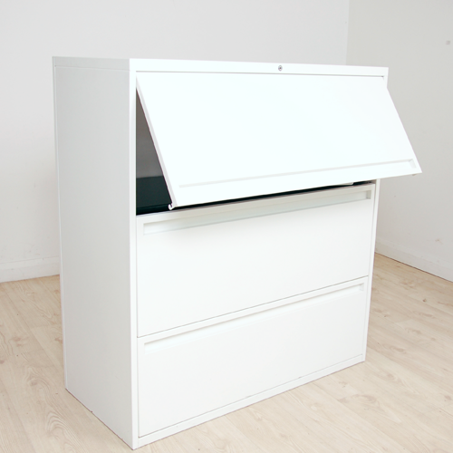Steelcase Latitude White Two Drawer Side Filer With Storage Above   Metal  White Storage Unit   White Filing Cabinet