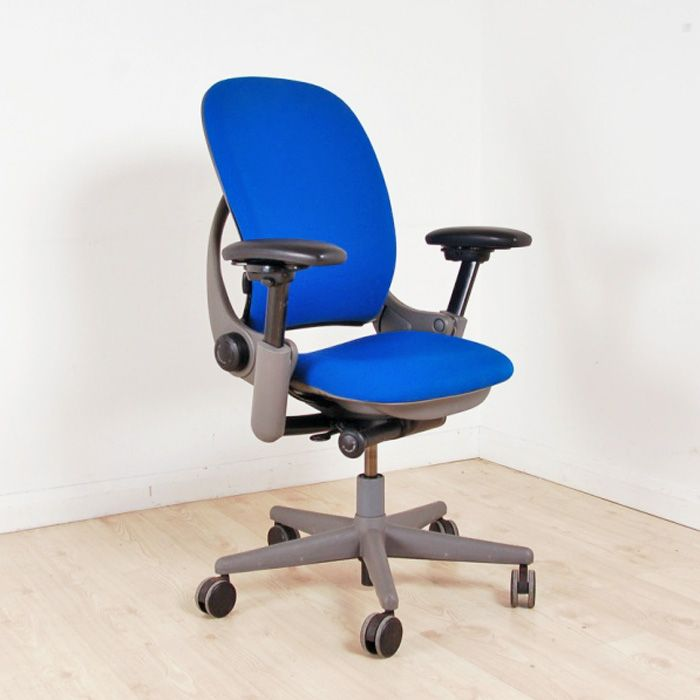 Steelcase leap chair ergonomic swivel chair blue - Steelcase leap ergonomic office chair ...