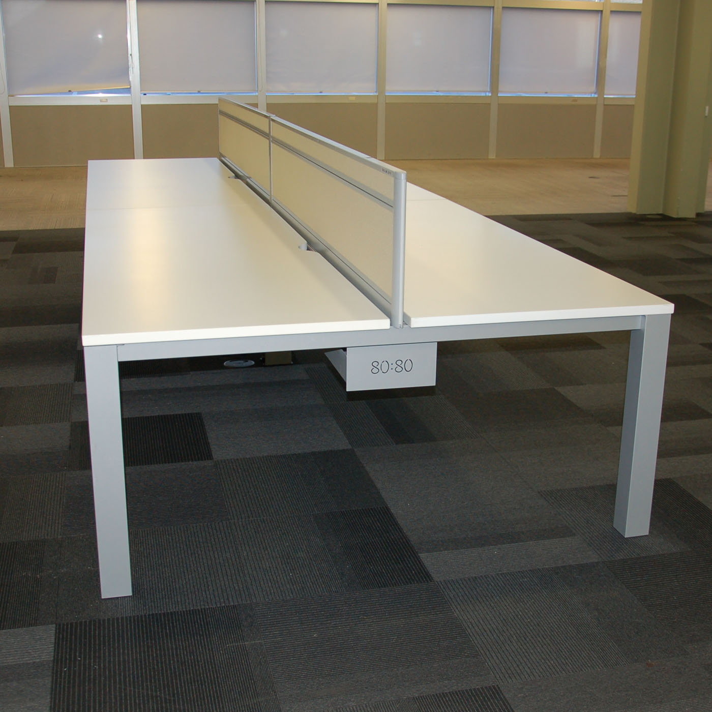 Tangent 80:80 Bench Desk White | Wide Office Desk | White Bench Desk On  Silver Frame
