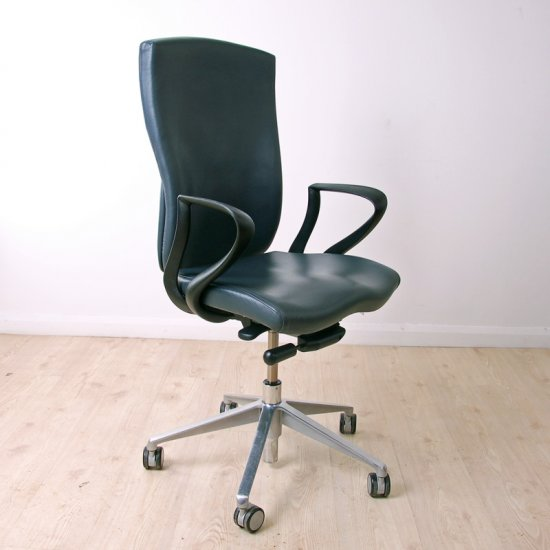 Swell Task High Back Blue Grey Leather Operator Chair Andrewgaddart Wooden Chair Designs For Living Room Andrewgaddartcom
