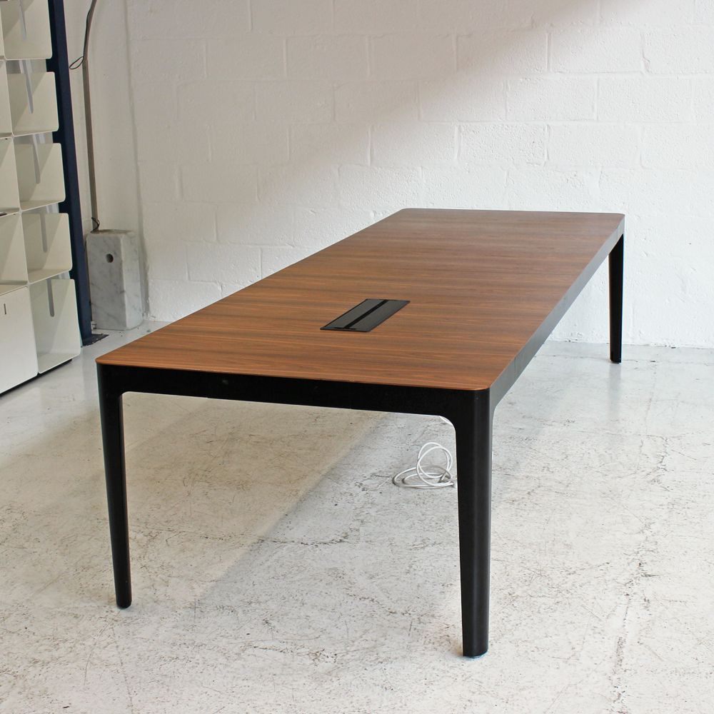 Walnut Meeting Table with Black Metal Frame