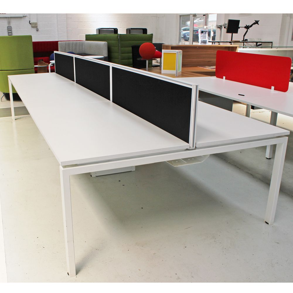 White Bench Desk with Sliding Tops and Screens | White Desk | Multi Person Desk