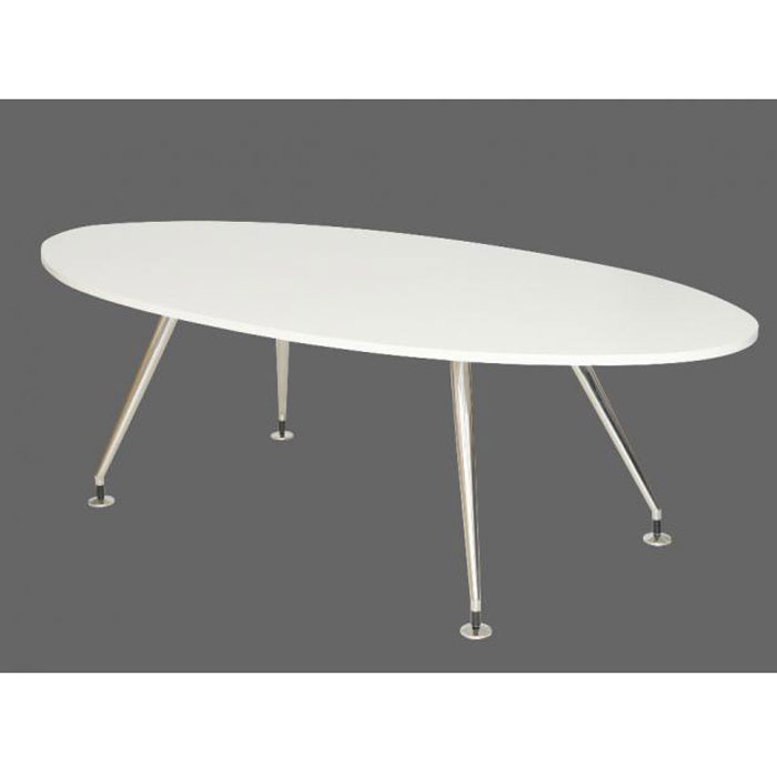 White Oval Meeting Table On Chrome Four Legged Frame