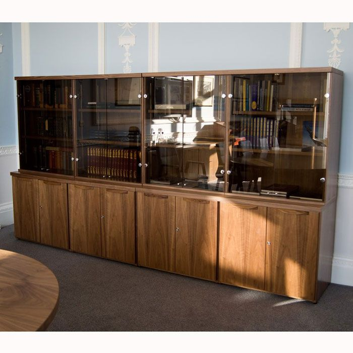 Wooden Display Cabinet With Glass Doors Office Display